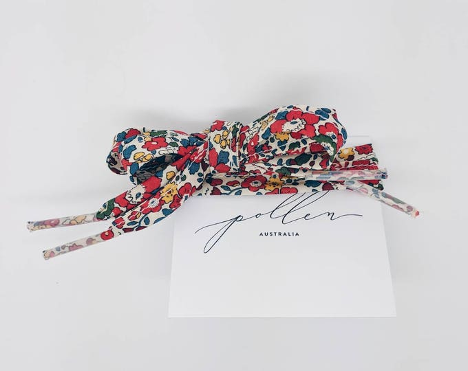 LIBERTY PRINT SHOELACES in adult and children's sizes - Betsy Ann B (red-blue)