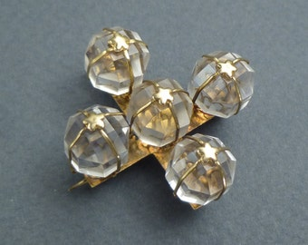 14K flower/stars brooch with facetted crystal balls