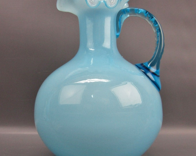 "Fenton #1934 BLUE OVERLAY Handled 7"" Jug ca. 1943-1953"