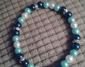 Blue and White Glass Bead Bracelet