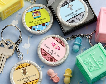 35 Personalized Baby Shower Key Ring Favors - Set of 35