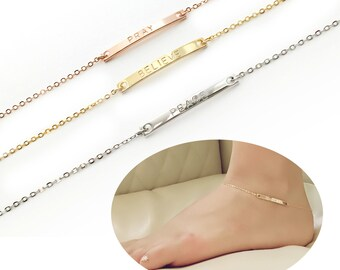 Name Anklet Personalized Anklet Gold Anklet Bar Anklet Body Jewelry Summer Outdoors - 2A