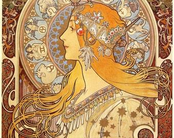 "Zodiac by Alphonse Mucha, 12""x16"", Giclee Print on Canvas"