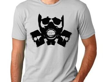 Skull Gas Mask T shirt screenprinted  Humor Tee 01152bb