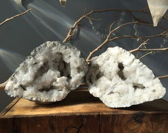 EARTHLY FIND...large chunky mystic Christmas display quartz crystal woodland fairy zen design-american geode- fossil - display pieces