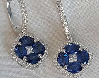 Stunning 18k white gold sapphire and diamond earrings with genuine oval sapphires and round brilliant cut diamonds, spectacular workmanship