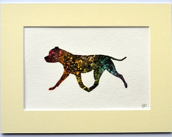 Staffordshire Bull Terrier - Trotting Silhouette (Rainbow)