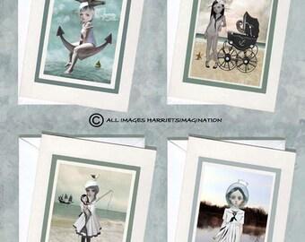 Notecards Set | 4 x Notecards | Blank Notecards | Sailor Girl Notecards |