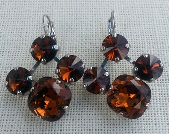 Fancy Cut 12MM Swarovski Earrings/ Smoked Topaz/ Rhodium Finish/ 4 Stone Setting/ Unique Earrings/ Dangle/ Crystal Earrings/  Drop Earrings