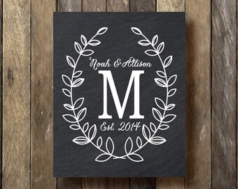 Family Established Print - Printable Download - Chalkboard Monogram Print - Last Name Established - Monogram Printable - Established Sign