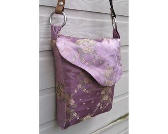 Vintage 50's purple floral handmade messenger shopper shoulder bag