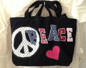 Peace Sign on dual handle black tote