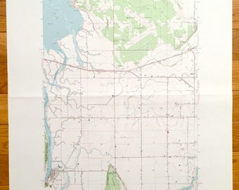 Antique La Conner, Washington 1956 US Geological Survey Topographic Map – Skagit County, Padilla Bay, Bay View, Olympia Marsh, Fredonia