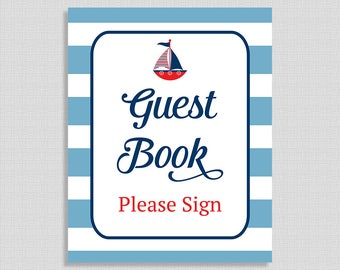 Guest Book Baby Shower Table Sign, Little Sailor Baby Sign, Nautical Red, White and Blue, INSTANT PRINTABLE
