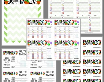Garden Bunco Printable Set, Bunco Score Cards & Tally Sheet, Instant Download, Editable Bunco Invites
