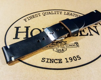 Leather Watch Band, Black color Horween leather watch strap, Handmade in Finland - 16, 17 , 18, 19 , 20,  21,  22,  23 , 24, 25 , 26mm.