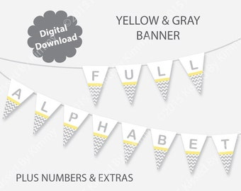 Yellow Gray Baby Shower Banner - Yellow Gray Baby Name Banner - Printable FULL ALPHABET- Pastel Yellow L Gray Banner -Chevron Party