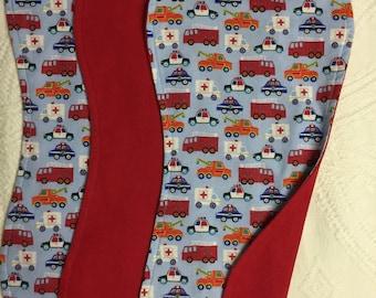 Fire truck burp cloths, Set of 3 burp cloths, Boy burp cloths