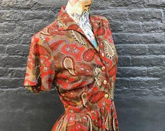 Vintage 60s Cool Girl Dress  olive paisley small medium