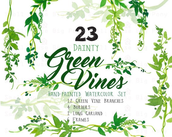Digital Green Vines Clip Art. Green Laurel Wreath and Leaves Clipart. Vine Frames and Borders for Wedding, Cards - Dainty Green Vines