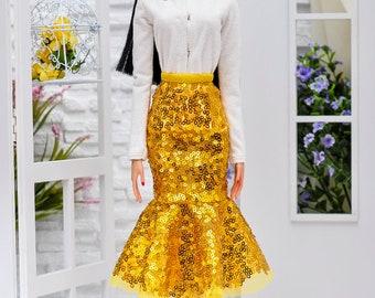 ELENPRIV golden sequined godet skirt for Sybarites on Gen X body and similar body size dolls