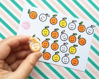 smiley orange rubber stamp | fruit stamp for teachers & kids | planner stamp | diy thank you notes | hand carved by talktothesun