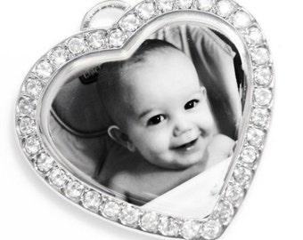 Personalized Photo Engraved Cubic Heart Pendant