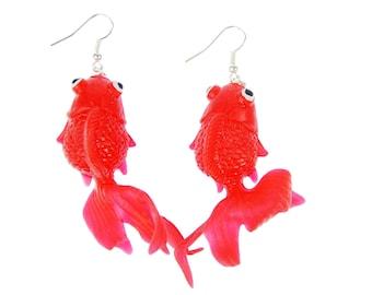 Goldfish Earrings Betta Fish Aquarium Fish Miniblings Koi Neon Orange FODJ6R6