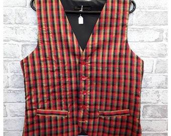 "Men's Check Silk Waistcoat, Mens Check Silk Vest, Men's Silk Waistcoat, Men's Silk Vest, 40""-42"" Chest."