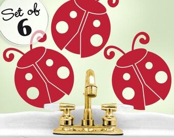 Giant Ladybugs Birthday Decorations - Woodland Bathroom Wall Decals - Ladybug Nursery Wall Decals - Ladybird Birthday Party - Nature Decal