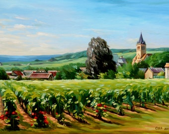 Champagne landscape painting oil on the canvas.