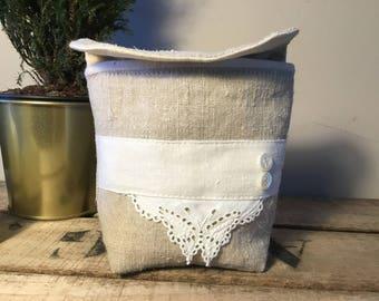 Small French antique linen bathroom purse (medium)