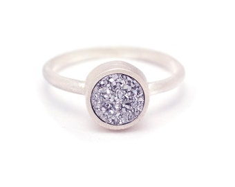 Silver Druzy Quartz Ring - Sterling Silver - Bezel Set - Druzy - Available in sizes 4.5, 5, 5.5, 6, 6.5, 7, 7.5, 8, 8.5, 9, 9.5 and 10