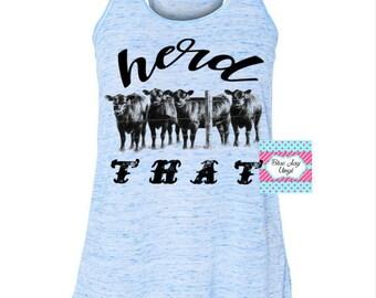 Herd That Tank Top. Bella Canvas Flowy Racerback Tank. Light Blue Marble Cows tank top