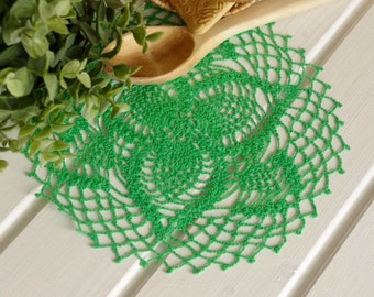 SALE 20% OFF: Green crochet doily Lace doily Handmade lace crochet doilies Centerpiece decoration Pineapple crochet doily 267