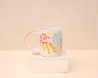 Colorful Ceramic Mug / Modern Handmade Ceramic Mug / Wheelthrown Pottery