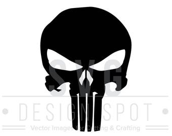The Punisher Skull Logo SVG Wall Art Decal, Super Hero Marvel Vector Graphic for Cricut Silhouette Cameo, Punisher Svg Eps Dxf Png