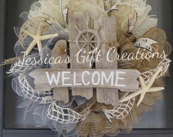 Made to Order Welcome Deco Mesh Wreath/Beach/Nautical/Door Wreath/Anchor/Wall Decor/Front Door/Beach Lover/Starfish/Starfish/Everyday Wreath