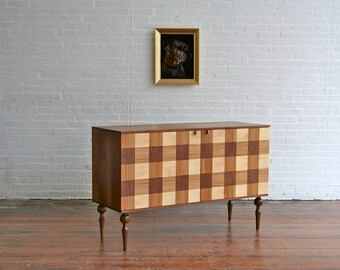 Mid century modern side board, walnut, bronze, plaid, modern chic,