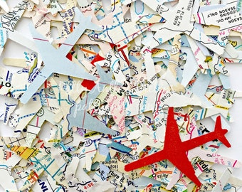 Atlas Airplane Confetti, Travel Confetti, Vacation Confetti, Pilot Confetti, 100 Ct.