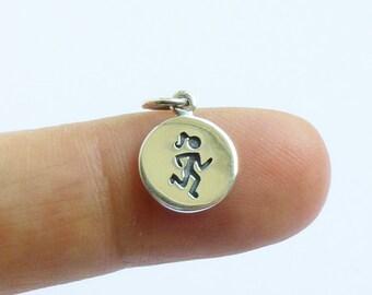 Sterling Silver Runner Charm -- 1 Piece