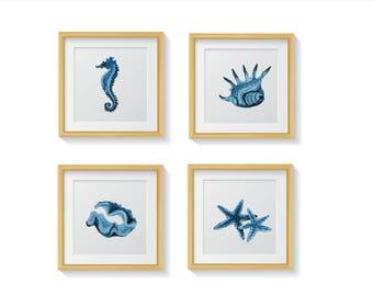 Blue Bathroom Wall Art, Bathroom Decor, Navy Bathroom Print, Nautical decor, sea life, Nautical Print Art, Ocean Theme, Seahorse Seashell