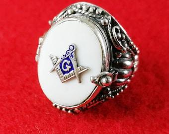 Masonic Locket Ring  Sterling