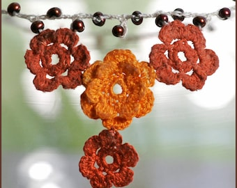 RESERVED LISTING Weathered Irish Lace Roses and Wandering Freshwater Pearl Necklace with Rose Gold Clasp, Oranges and Crimson Reds