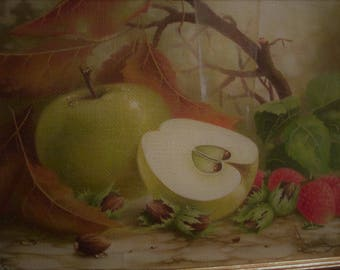 Still life with apples and strawberrie. Oil painting. Canvas. Sold UNFRAMED
