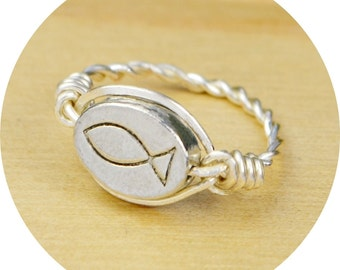 REVERSIBLE Christian Fish/Jesus Ring- Sterling Silver, Yellow or Rose Gold Filled Wire Wrap with Pewter Bead-Size 4,5,6,7,8,9,10,11,12,13,14