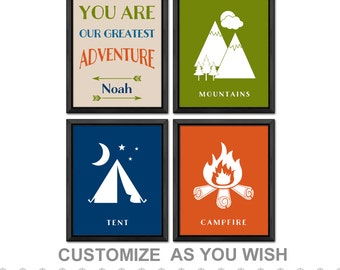 outdoor nursery decor, camping baby decor, personalized adventure nursery, tent mountains campfire nursery, camping nursery decor, baby gift