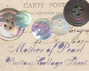 Mother - of - Pearl Vintage Button Images - Digital Collage Sheet - Digital Images - Crafts - Scrapbooking