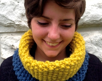The Chunky Cowl in Citron and Denim