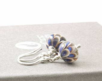 Blue Daisy Flower Earrings | Handmade Lampwork Glass Earrings in Sterling Silver | Glass Drop Earrings | Petal Collection UK